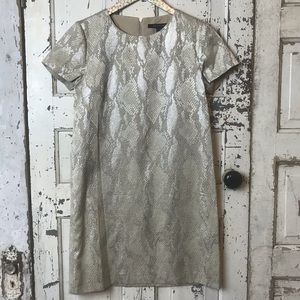 French connection metallic snake print shift dress